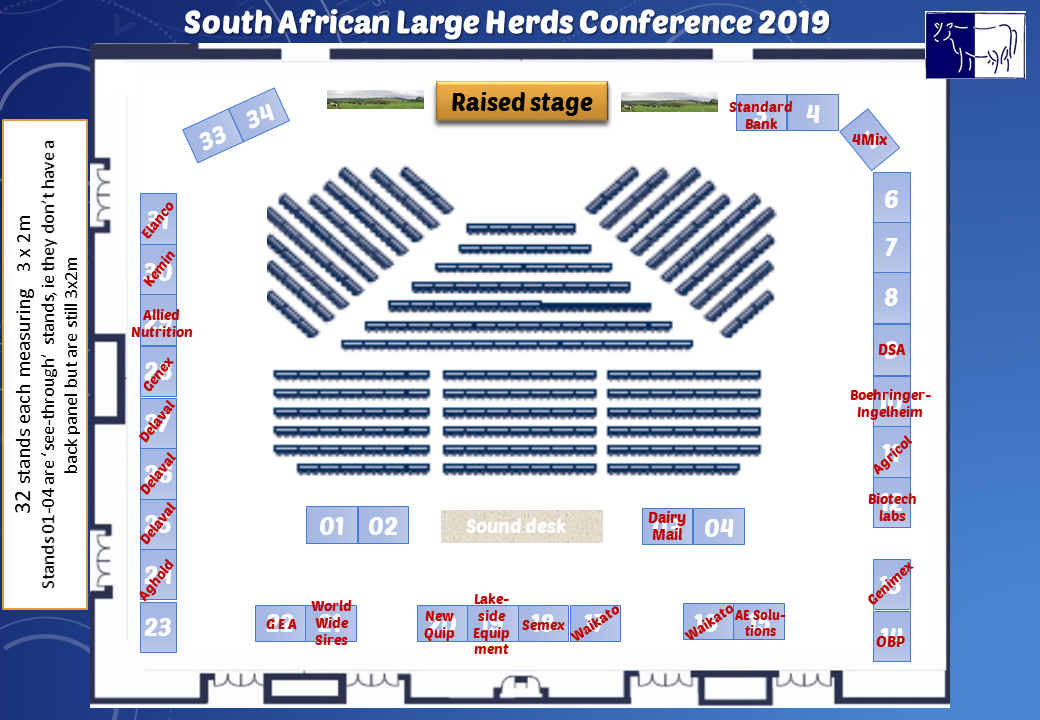 latest floorplan for exhibitors at the SA Large Herds Conference